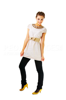 Buy stock photo Fashionable female portrait - Fashion full body shot of a gorgeous young girl posing. Isolated.