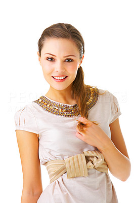 Buy stock photo An isolated fashion portrait of a beautiful young girl in fashionable clothes.