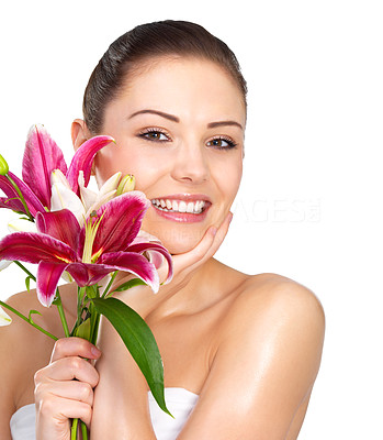 Buy stock photo Tropical flowers and young girl - Beautiful portrait of a young woman with bright red flowers.