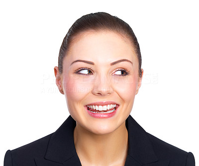 Buy stock photo Portrait of a beautiful young business woman, looking up.