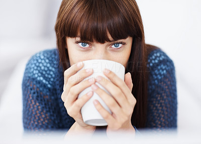 Buy stock photo Detail view of a beautiful young woman drinking coffee