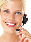 Smiling young call centre operator on white