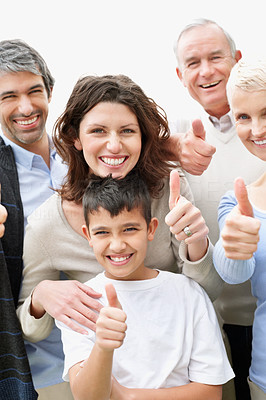 Thumbs up - Cheerful multi generational family wishing you luck