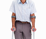 Mid section of a old man with crutches isolated against white