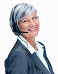 Smiling senior woman with a headset isolated on white