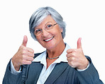 Positive elderly business woman gesturing a success sign