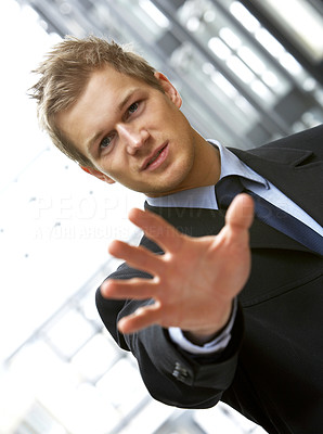 Buy stock photo Confident young man saying STOP