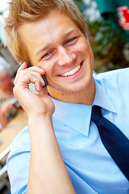 Buy stock photo Businessman making a phone call.  This picture is made so that it is light and clear, and with good contrast between the elements of the picture. The concept of the picture is successfulness, surplus and energy.