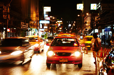 Busy street in Thailand at night