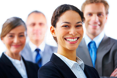 Buy stock photo Visionary young business group - young female leader