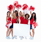 Smiling cheerleaders holding a blank billboard for your text