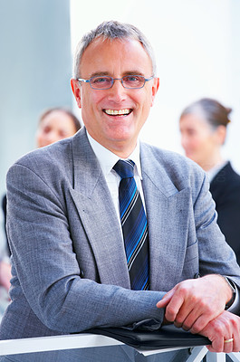 Buy stock photo Portrait of an old senior business man in a office.