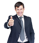 Middle aged business man showing a thumbs up over white
