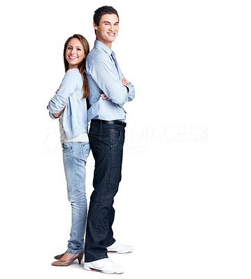 Buy stock photo Portrait of a happy young couple standing back to back against white background