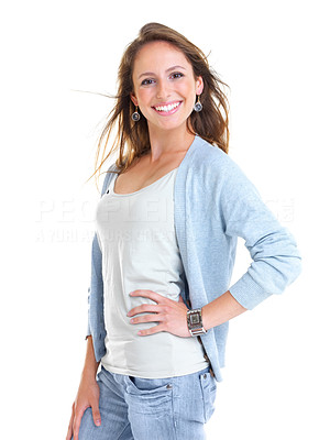 Buy stock photo Portrait of a smiling young girl posing against white background