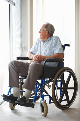 Handicapped man at a hospital , state of loneliness