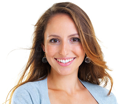 Buy stock photo Closeup portrait of a happy young female smiling against white background