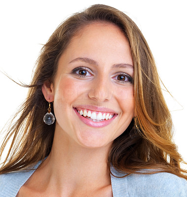Buy stock photo Closeup portrait of a beautiful young woman looking happy against white background