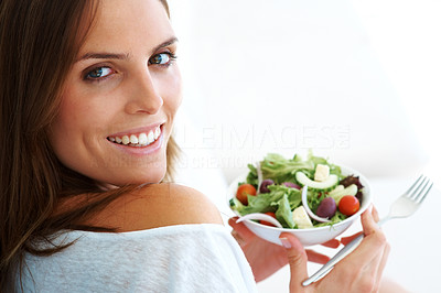 Buy stock photo Young lady holding  bowl of vegetable salad