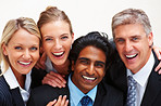 Closeup: Cheerful business people smiling on white background