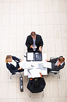 Top view of sophisticated business people working in the office