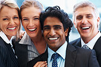 Closeup of a successful team of business people smiling