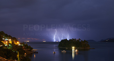 Stormy night over the island