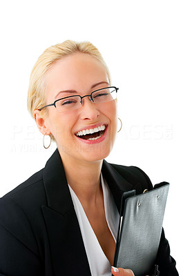 Buy stock photo Studio portrait of an attractive young businesswoman laughing isolated on white