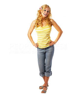 Buy stock photo Laughing contemporary girl dressed for summer