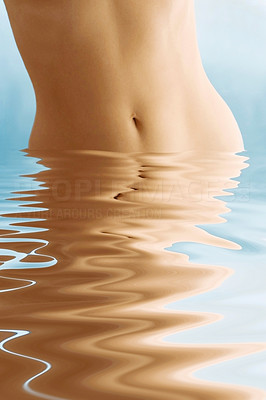 Buy stock photo Girl standing in water with animated water in front of her - cropped