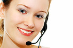 Girl talking to customer via headset.