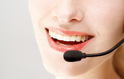 Buy stock photo Girl with Headset