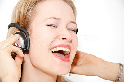 Buy stock photo Singing along