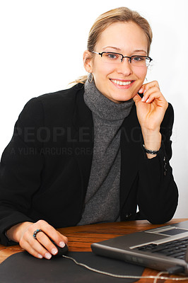 Buy stock photo Young Business Woman doing work (Smiling)