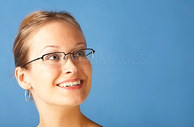 Buy stock photo Cute young girl looking at the corner of the frame - Copyspace