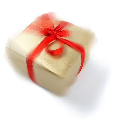 Buy stock photo Wrapped christmas presents blurred in motion, isolated on white - copyspace