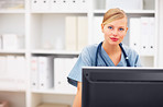 Portrait of successful lady doctor using the computer
