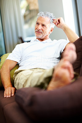 Buy stock photo Thoughtful senior man looking at copyspace