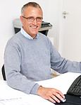 Portrait of a Man using computer in an office