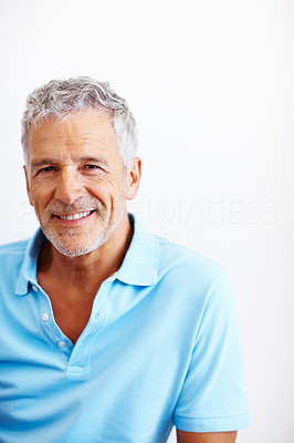 Buy stock photo Portrait of a relaxed senior man smiling