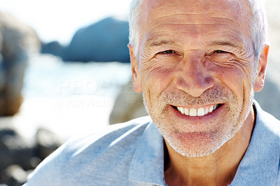 Buy stock photo Happy senior man smiling - Copyspace