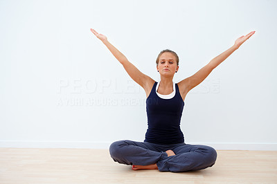 Attractive young woman presenting copy space