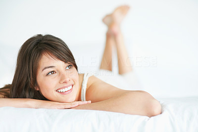 Buy stock photo Happy young female looking at copyspace