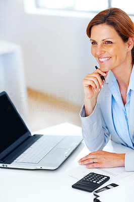 Buy stock photo Young business lady working at office