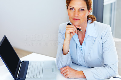 Buy stock photo Pretty young business woman working at office