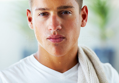 Buy stock photo Closeup portrait of young guy after exercising