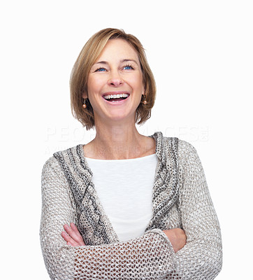 Buy stock photo Mature woman enjoying the moment over white backgr