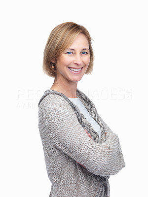 Buy stock photo Cheerful woman standing isolated over white backgr