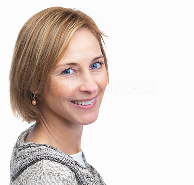 Buy stock photo Portrait of happy lady smiling over white backgrou