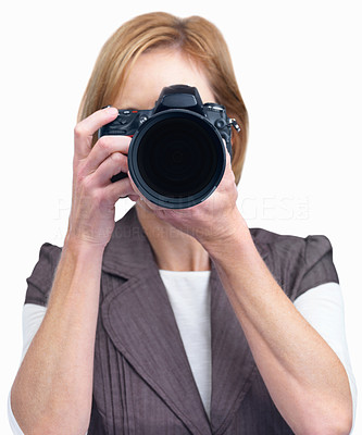 Buy stock photo Mature lady taking your picture isolated over white